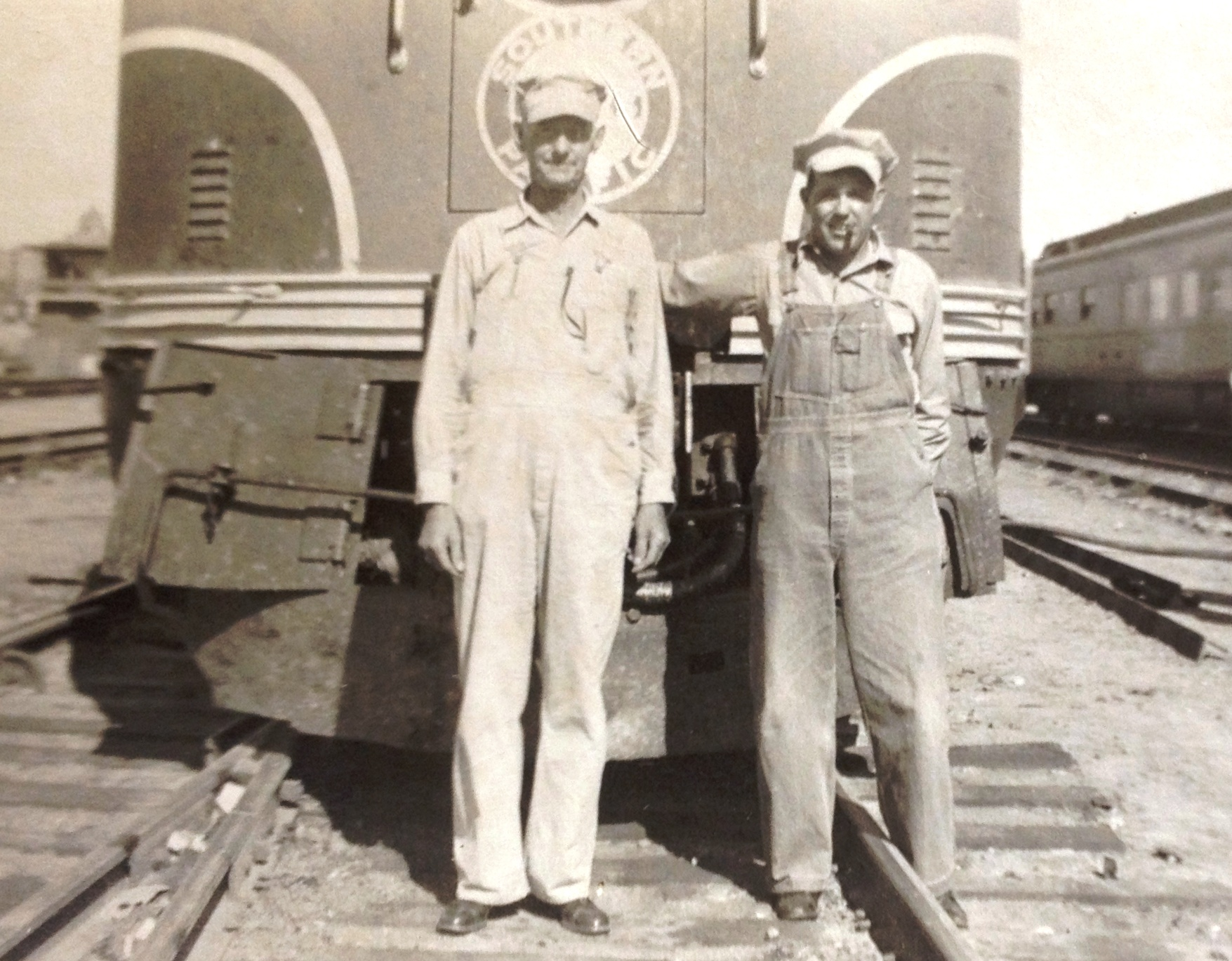 Photo of Railroad Engineers Albert L and Albert T Bartz Union Station El Paso Texas