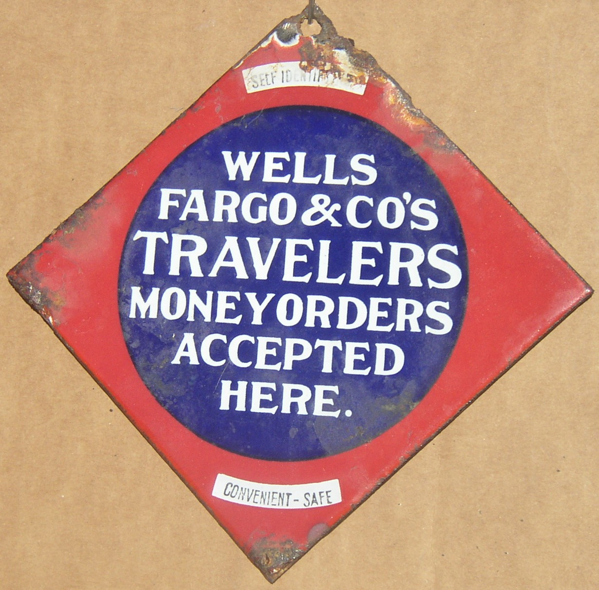 Wells Fargo & Co's Travelers Money Orders Enamel Sign, c1903
