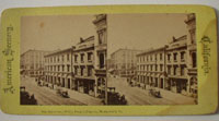 Stereograph, W F & Co Ex office, Montgomery St., San Francisco, c1865